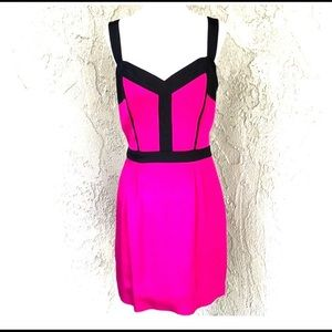 Rebecca Minkoff Fuschia & Black Mini Dress, Size 8